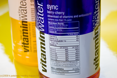 vitamin water nutrition label