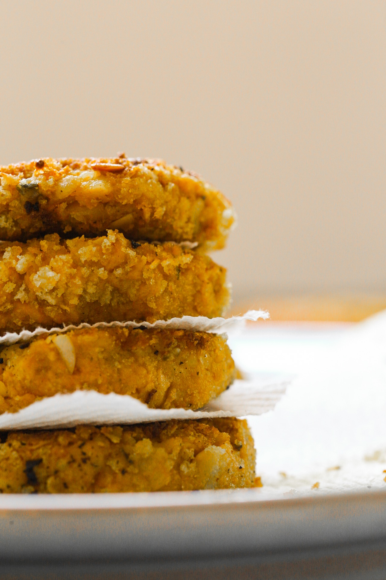 toasty pumpkin chickpea fritters stack