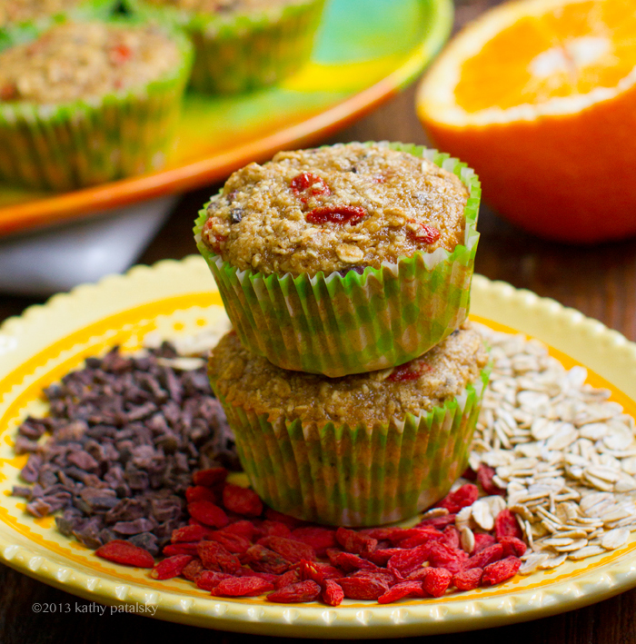 Oatmeal Citrus Goji Berry Cacao Chip Morning Muffins Wheat
