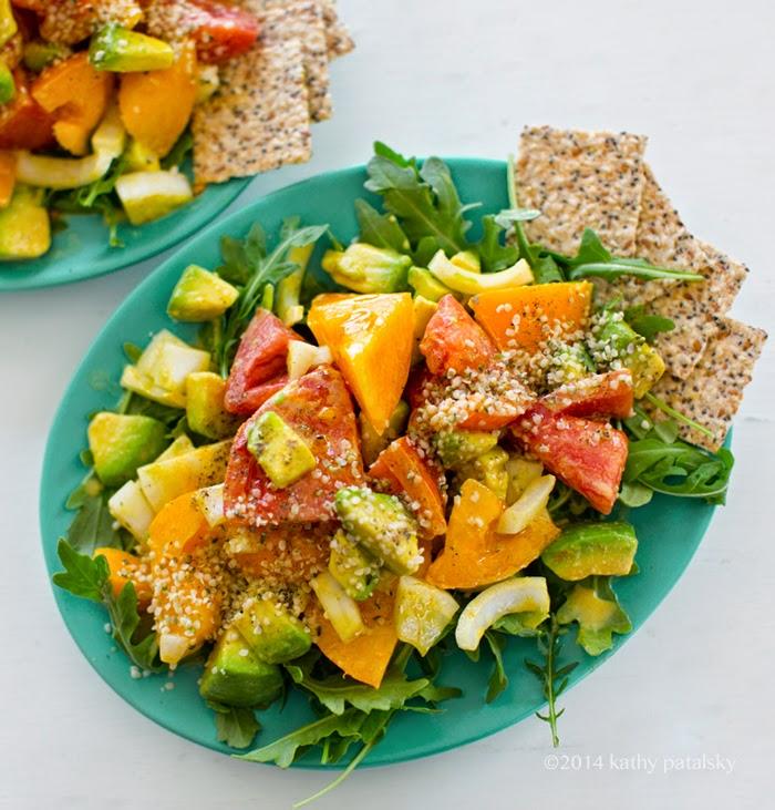 summer tomato salad with avocado