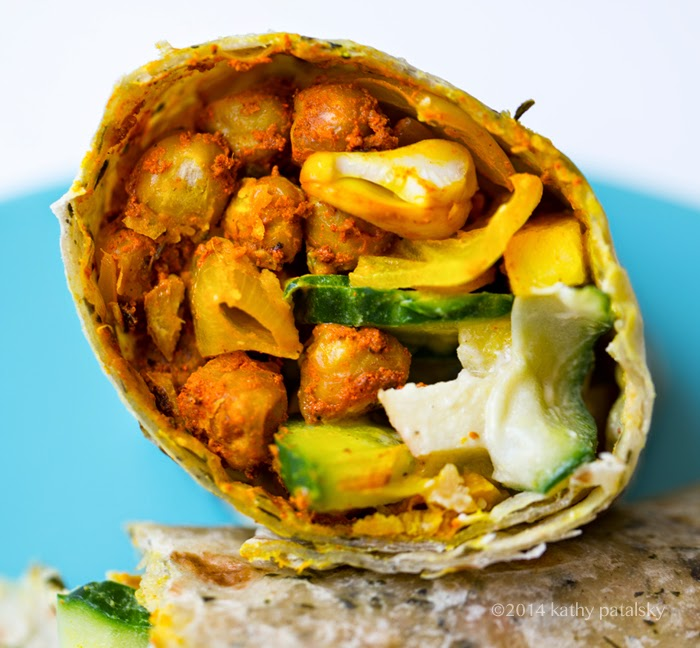 easy amazing vegan wraps with turmeric chickpeas and cool cucumbers