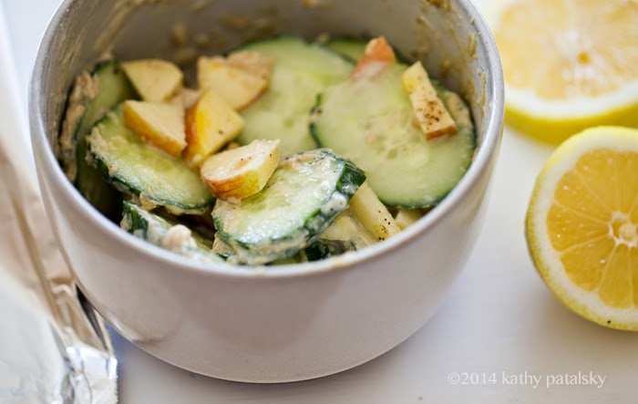 cool cucumber tahini apple lemon salad