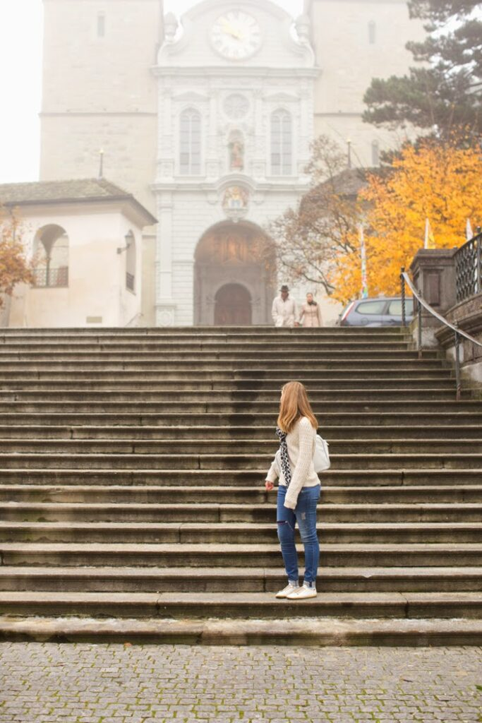 Kathy on steps of church