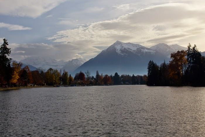 View of the Swiss Alps in Thun
