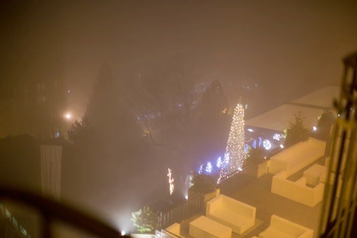 view from balcony, lucerne, misty white