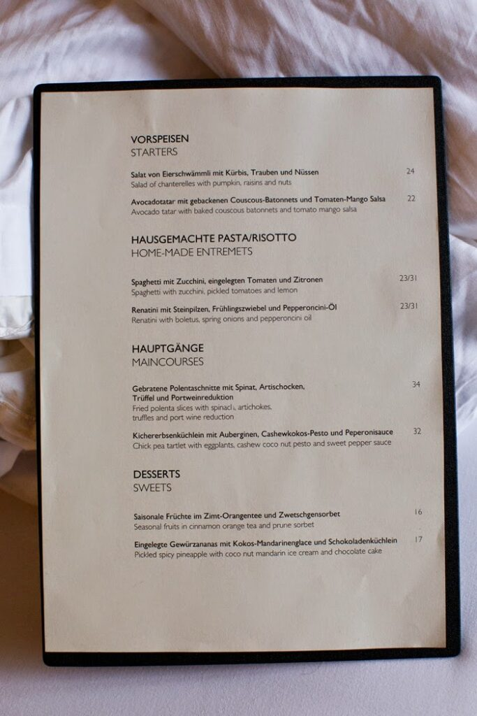 the vegan menu at hotel montana