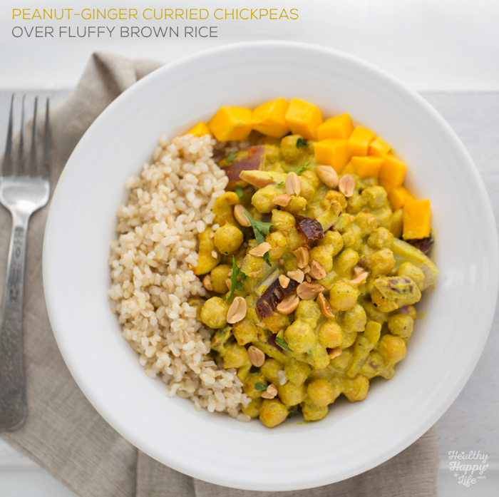 peanut ginger curried chickpeas and rice