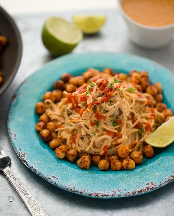 Speedy Sriracha-Peanut Soba Noodles with Smoky Maple Chickpeas