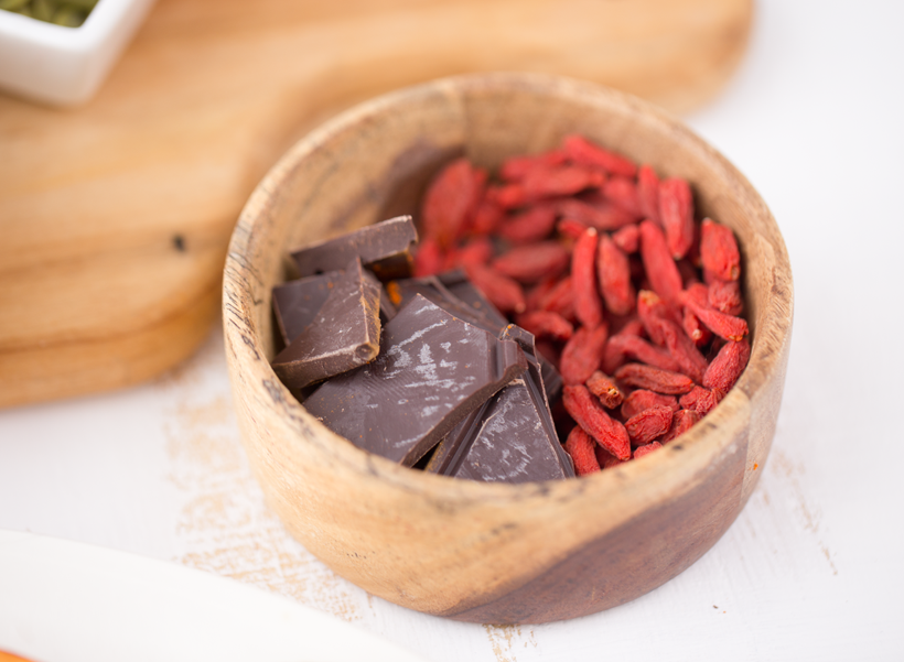 chocolate and goji berries