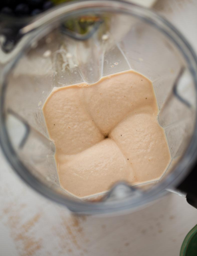 blender with banana ice cream