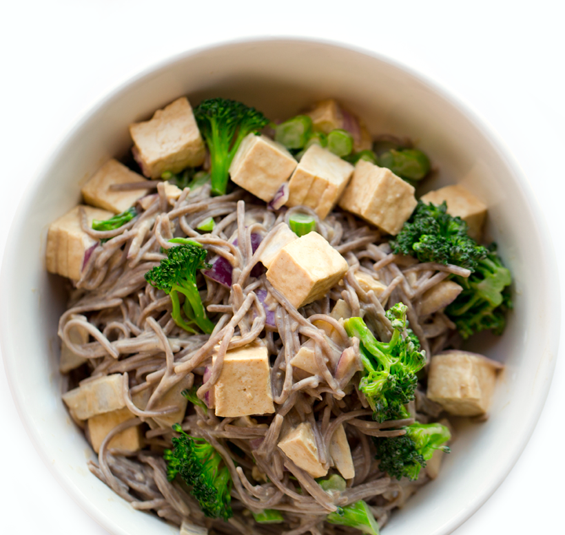 peanut tofu soba noodles