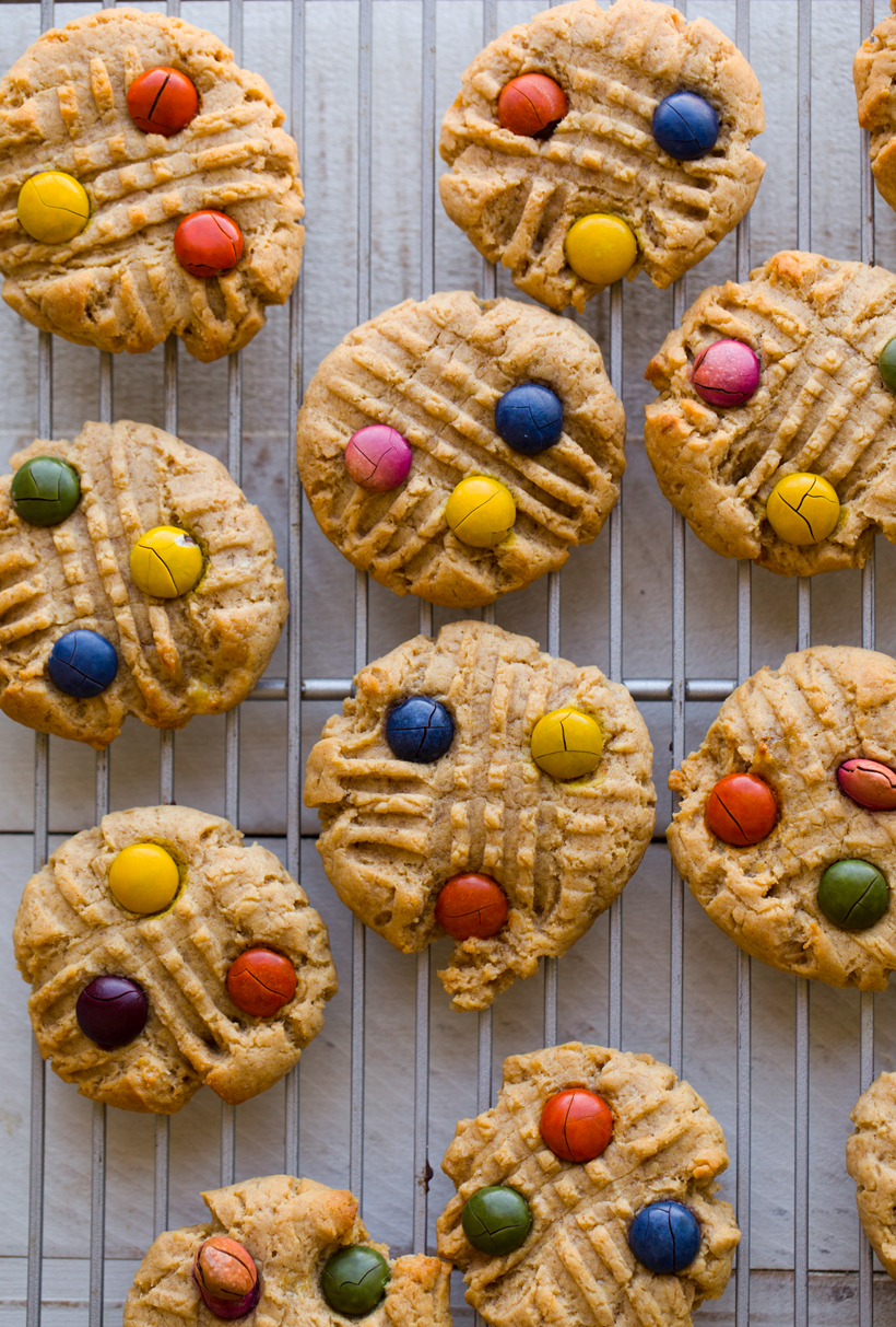 rainbow candy peanut butter cookies
