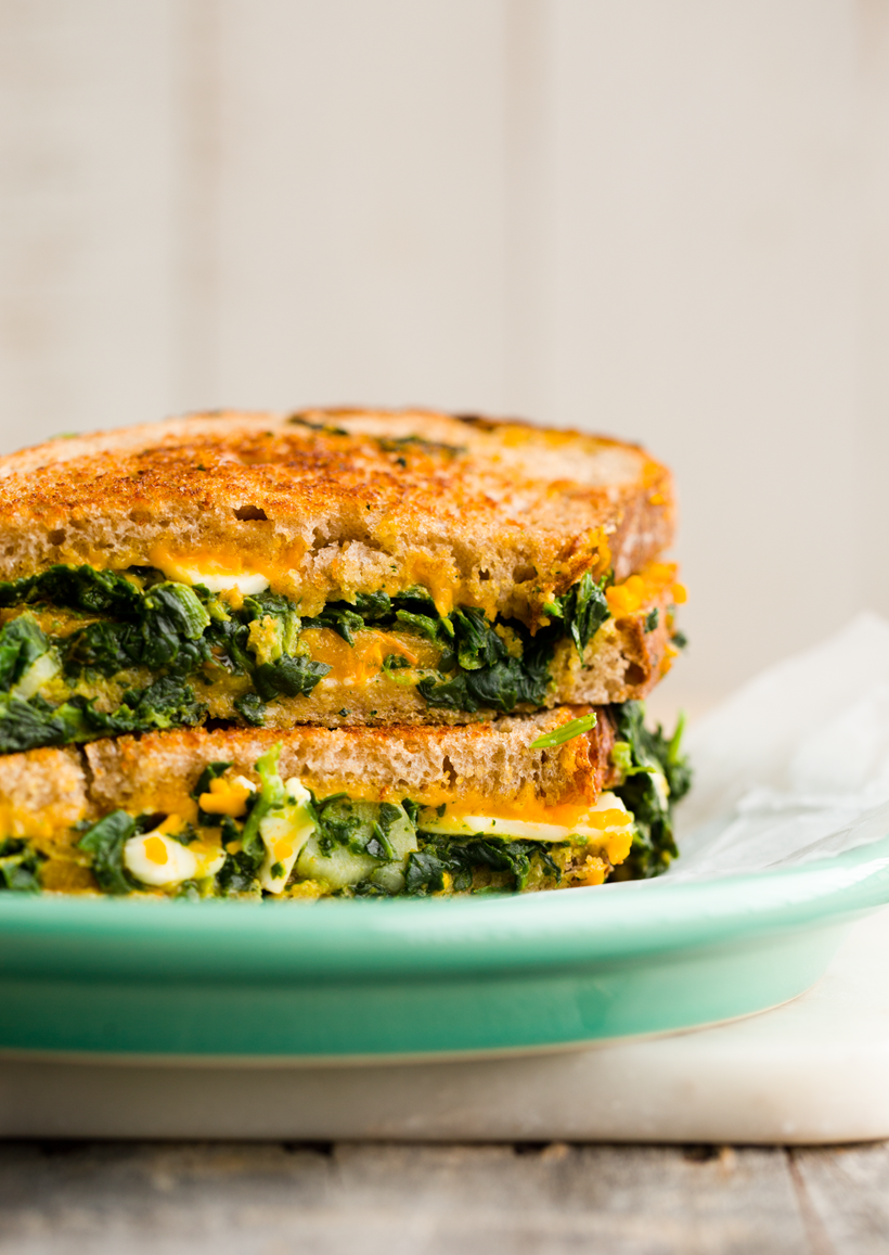 spinach stuffed grilled cheese sandwich