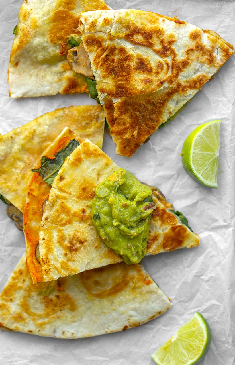 vegan quesadillas using queso