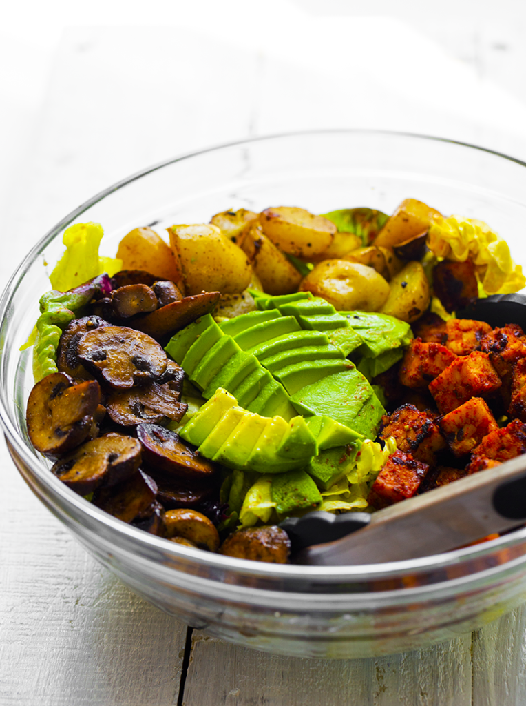 potato tempeh avocado salad