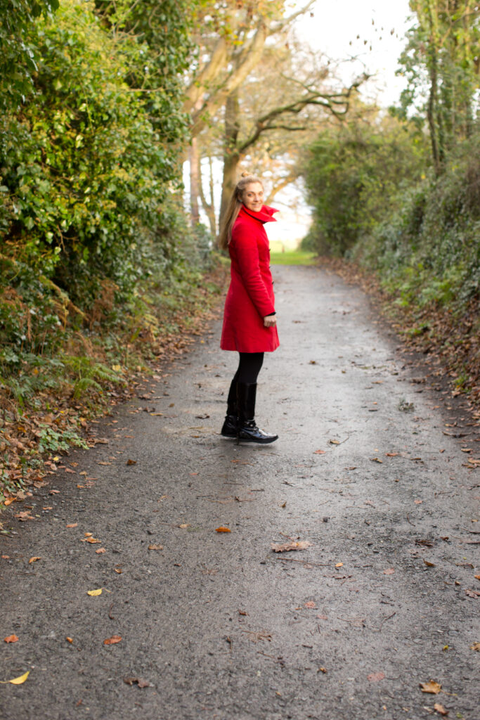Kathy in ireland, red coat