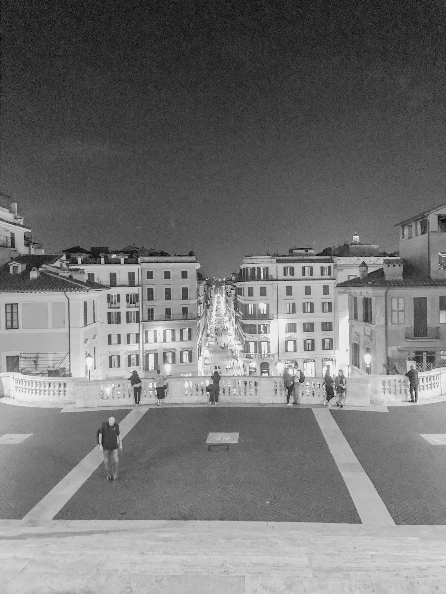 view from the Spanish Steps Rome at night