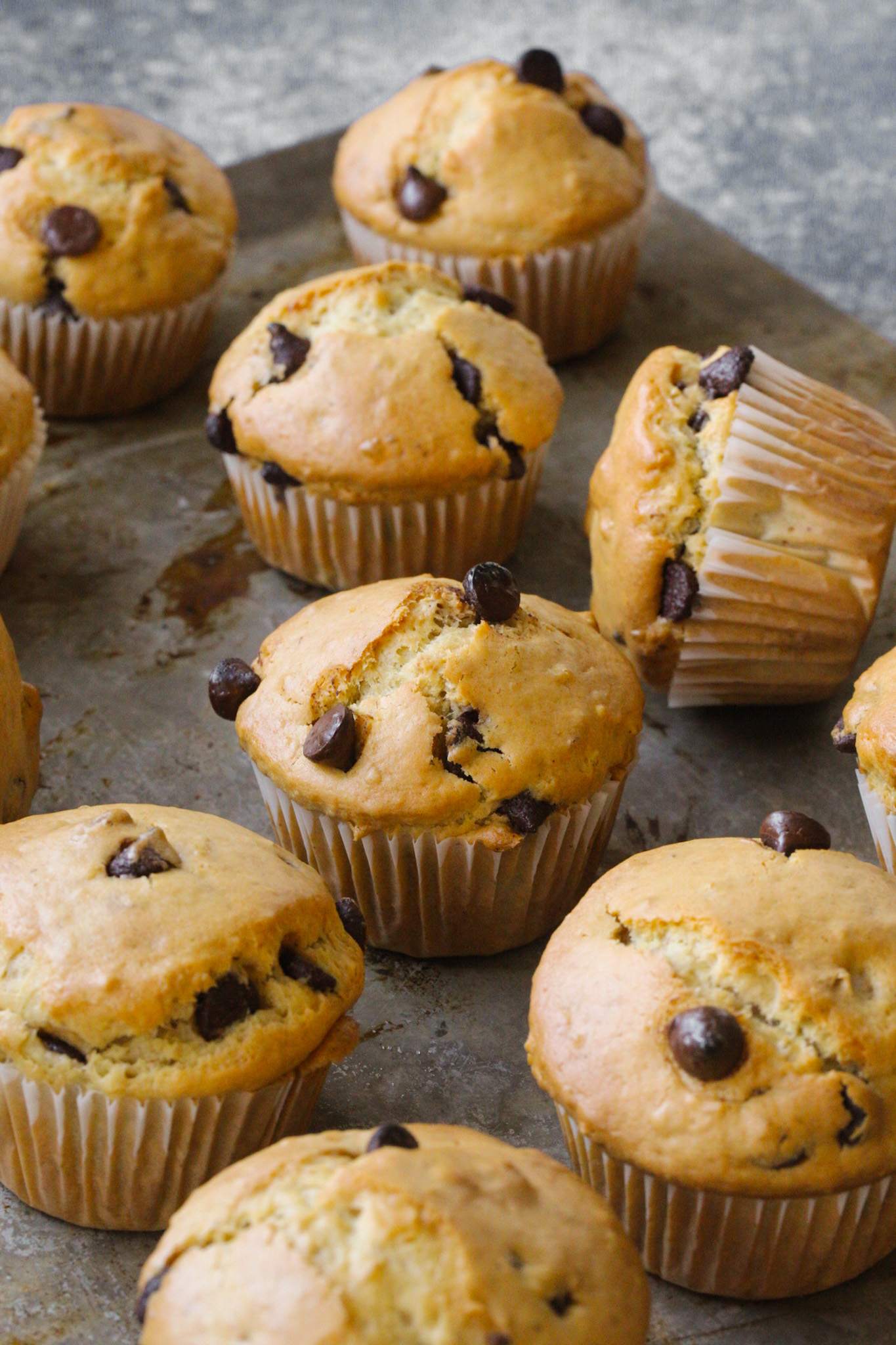 chocolate chip muffins on a baking sheet