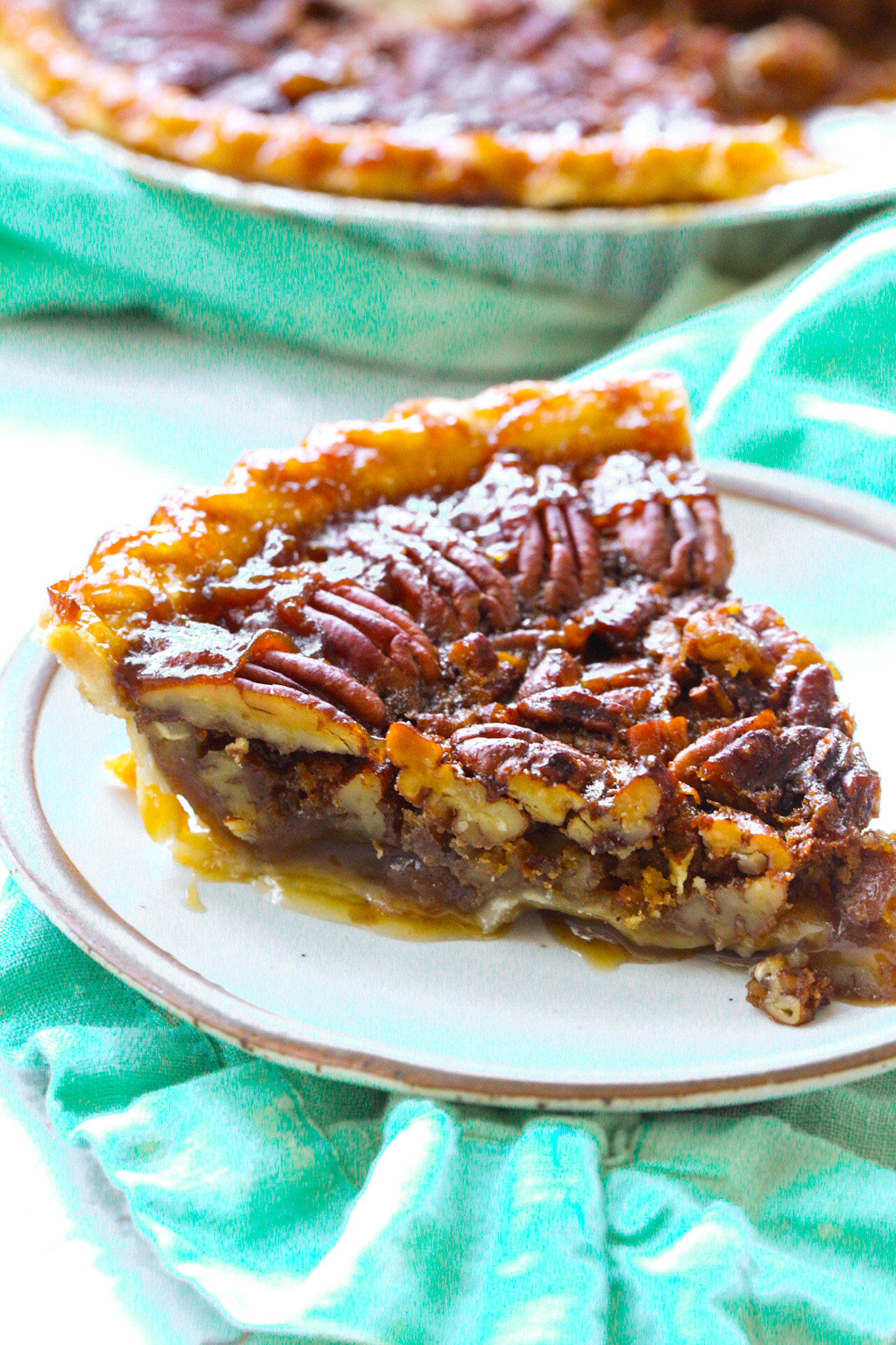 vegan pecan pie slice filling