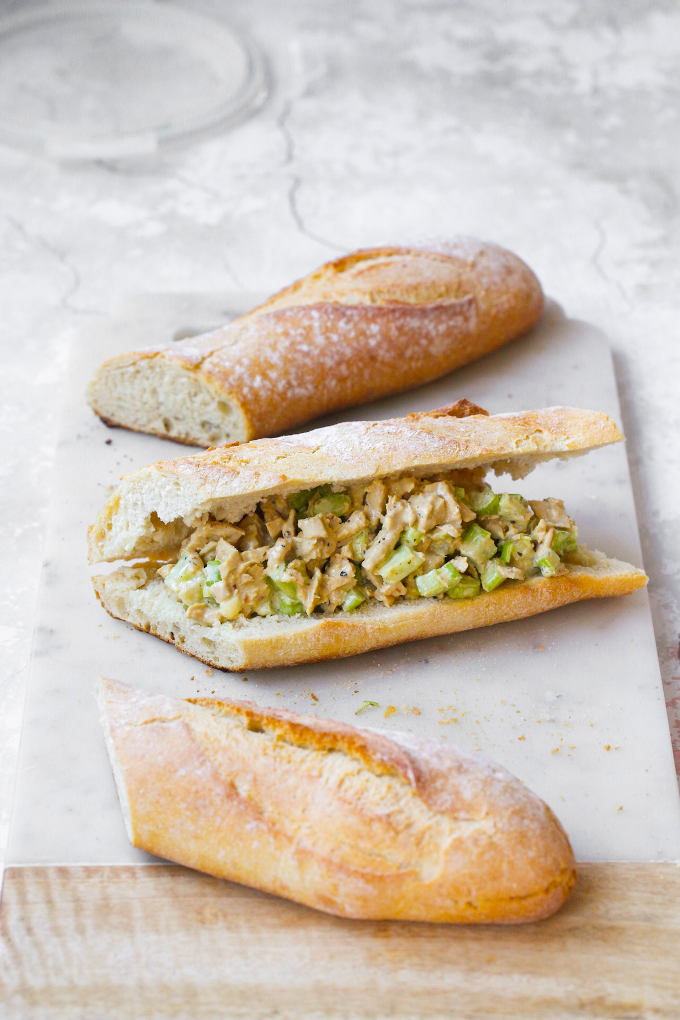 french bread with chick'n salad for lunch