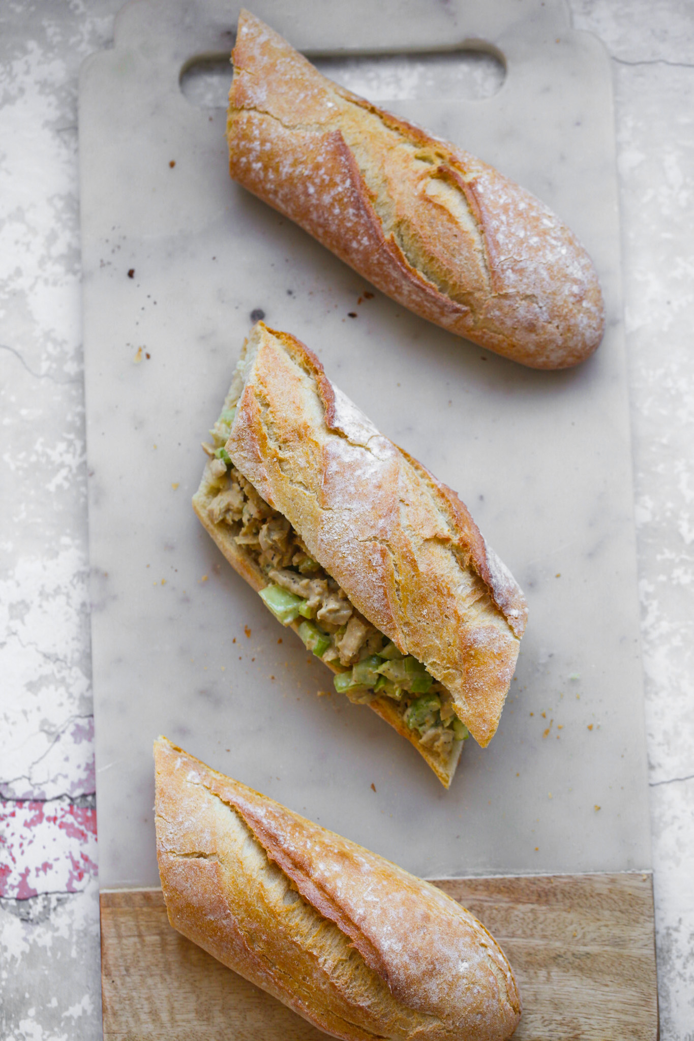 chick'n salad on french bread