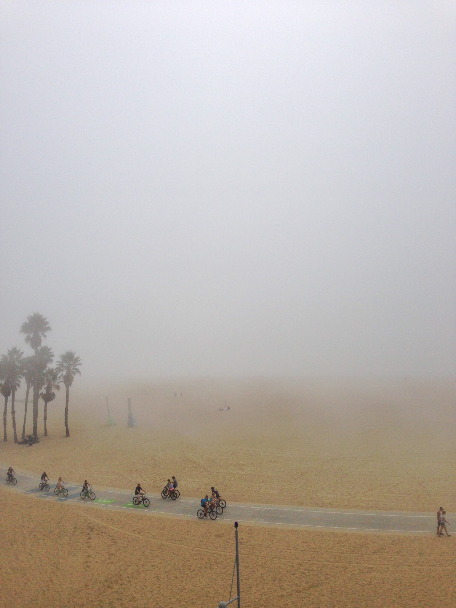 santa monica beach bike path in fog