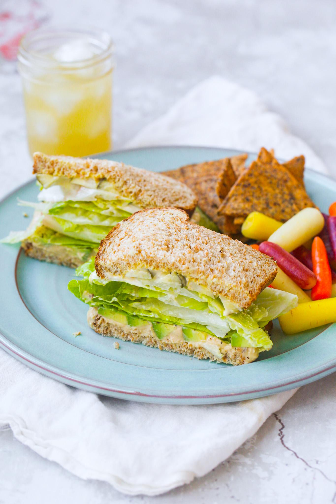 Green Crunch 'n 'Cado Sandwich lunch plate with drink