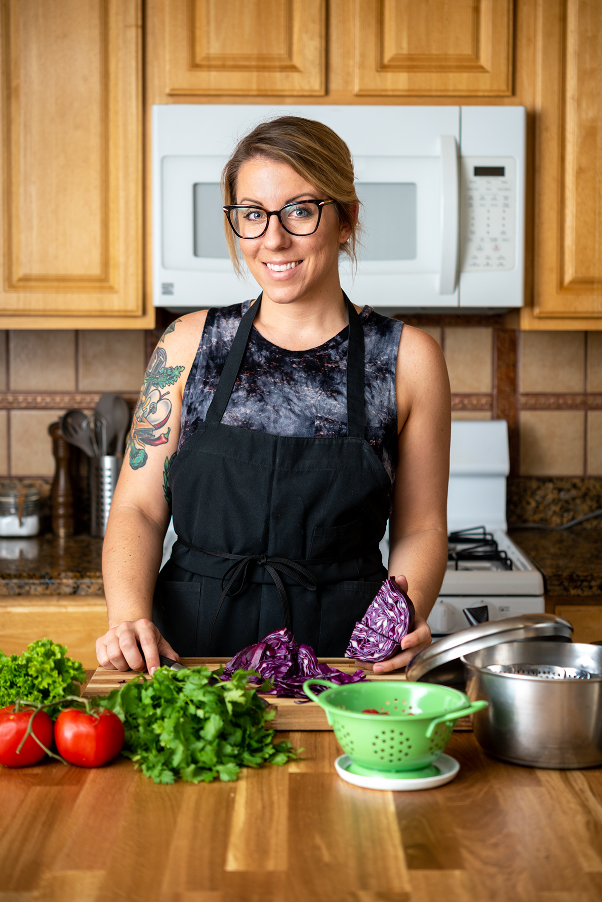 jackie sobon of vegan yack attack in her kitchen