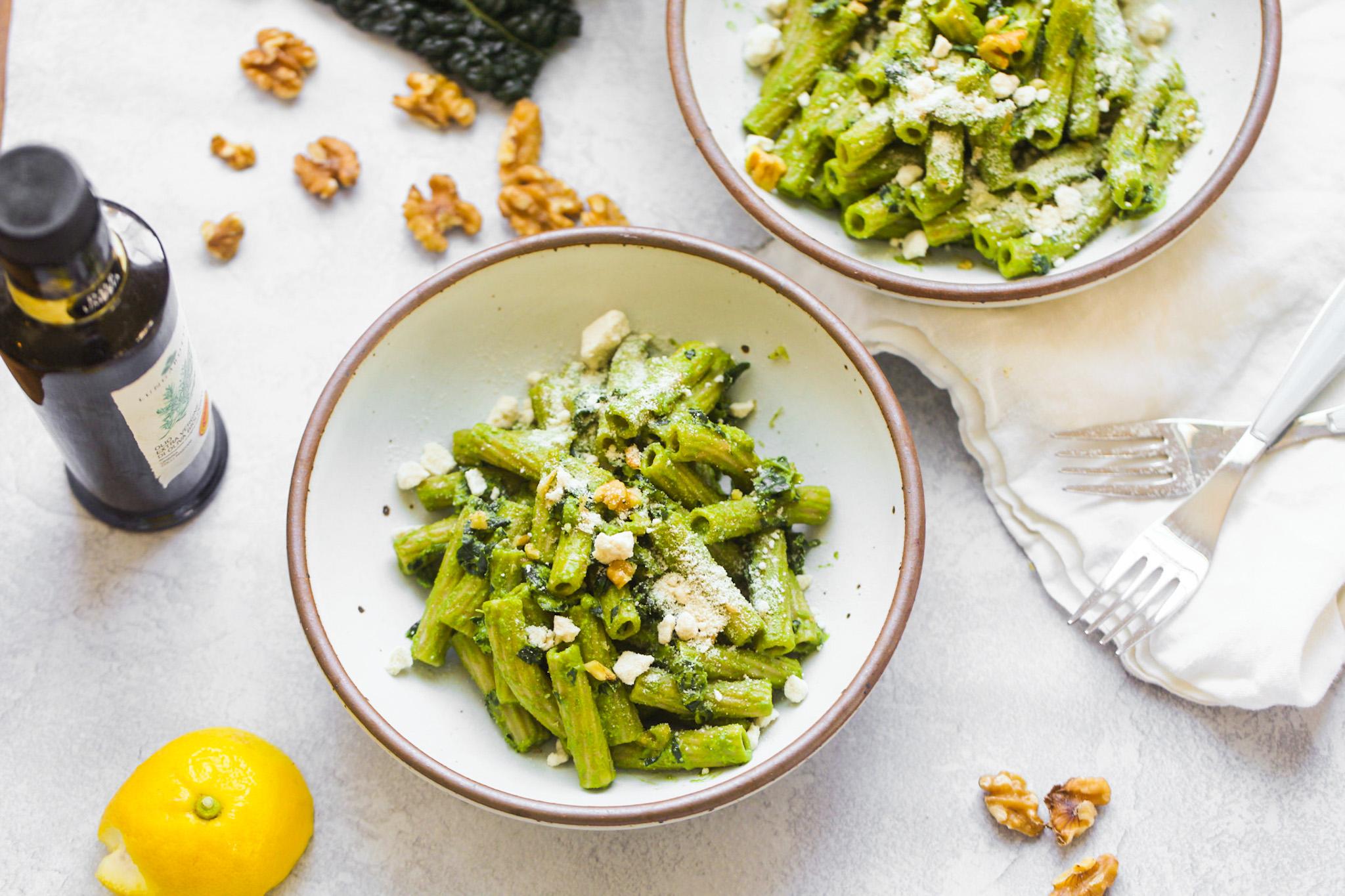 vegan pesto pasta in bowls