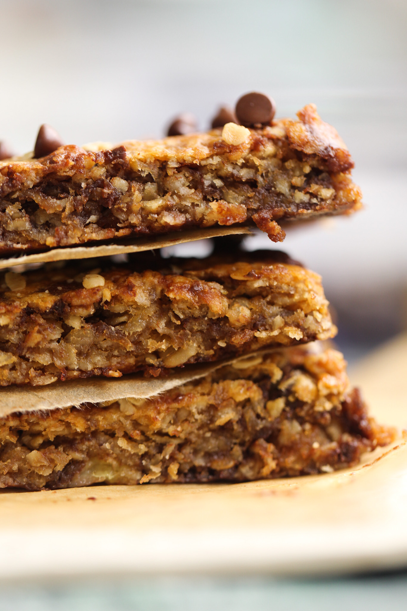 side view of Peanut Butter Banana Chocolate Chip Flapjacks