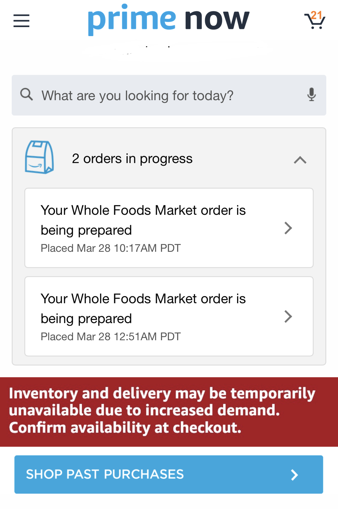 primenow order screen app