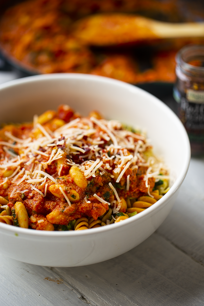 pasta with beans pantry meal