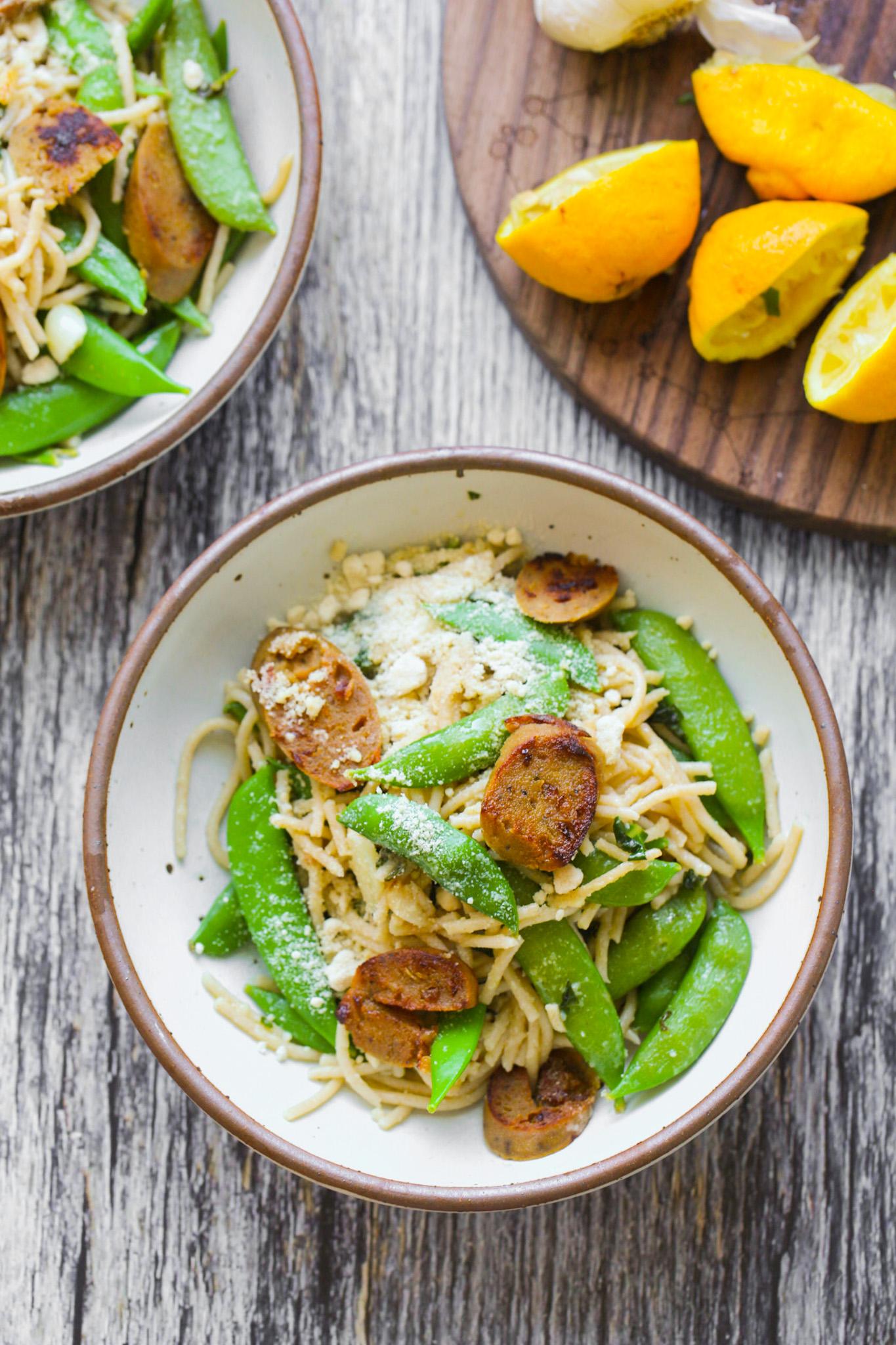 lemons and garlic with pasta bowls