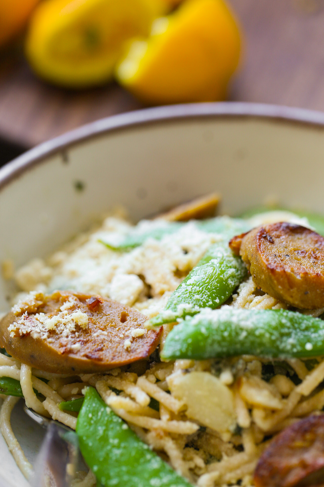 vegan sausage and pasta