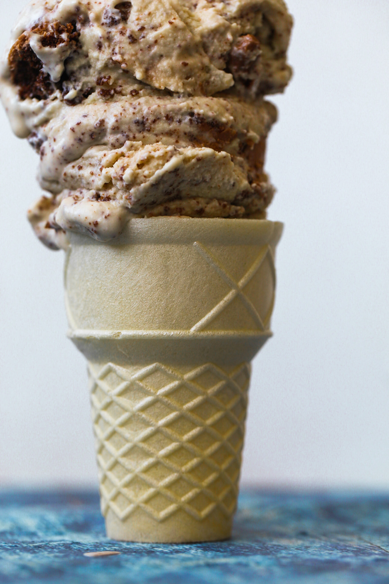 Cashew Ice Cream scooped on cone