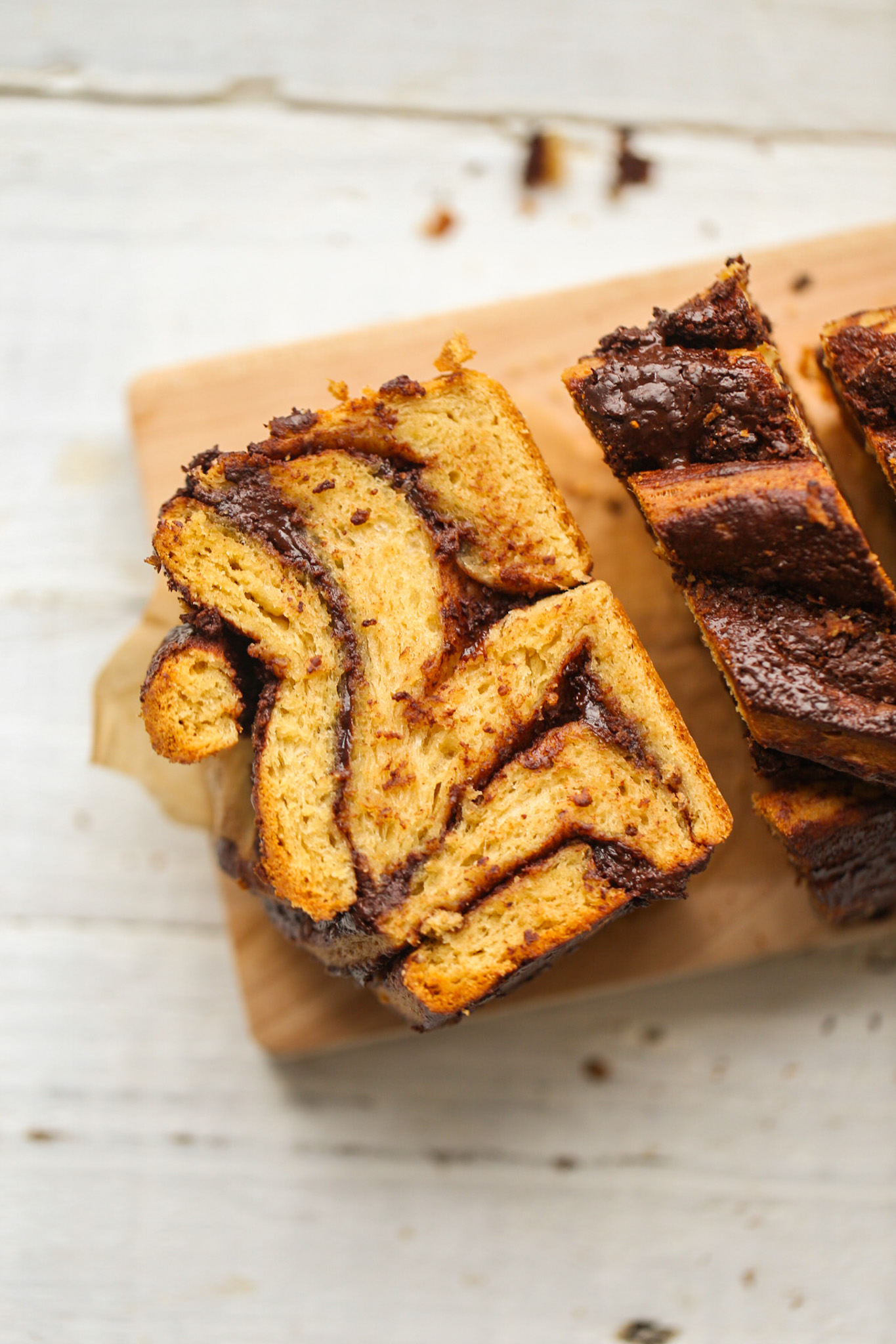 chocolate babka sliced