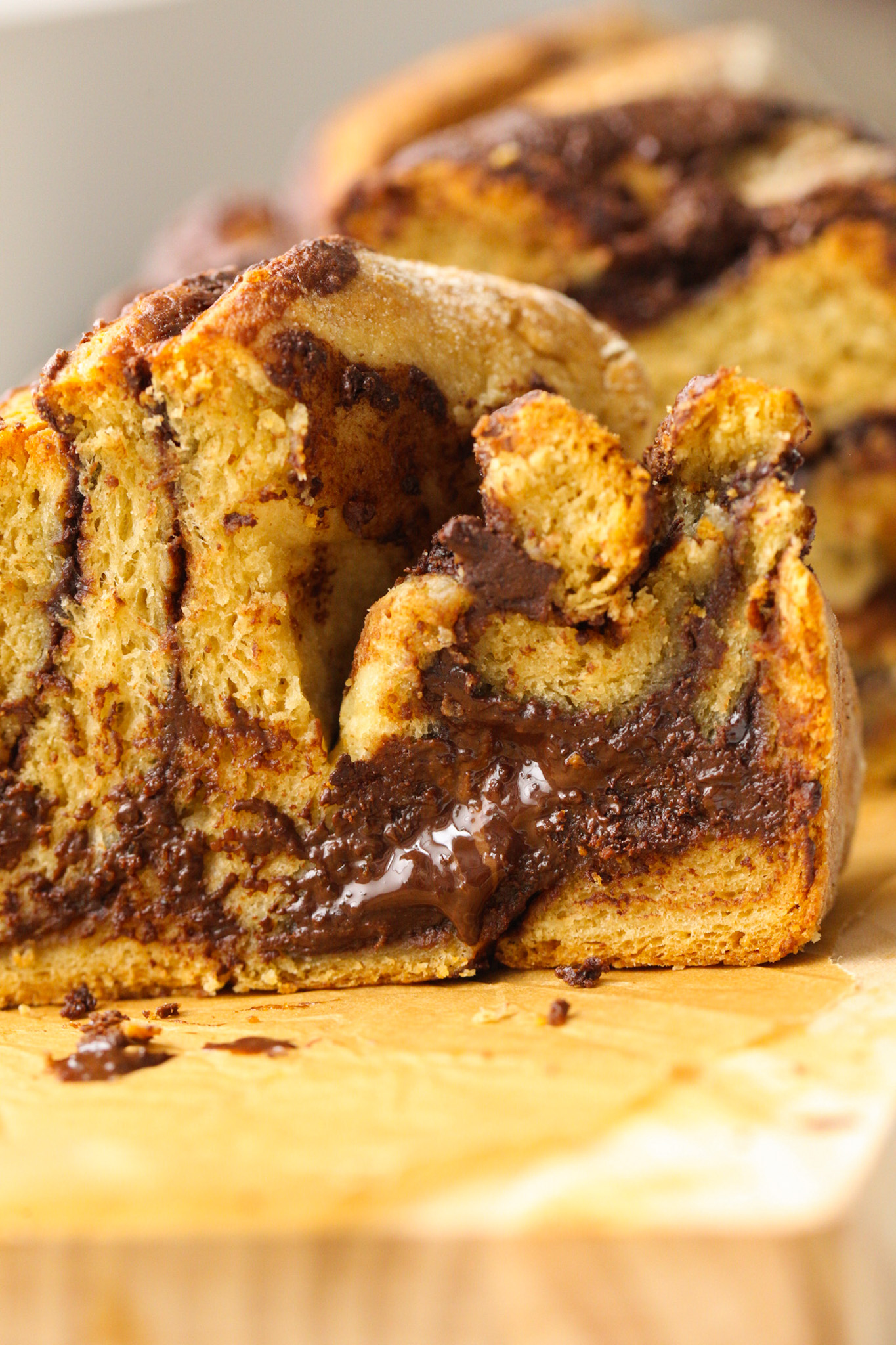 melty chocolate vegan babka