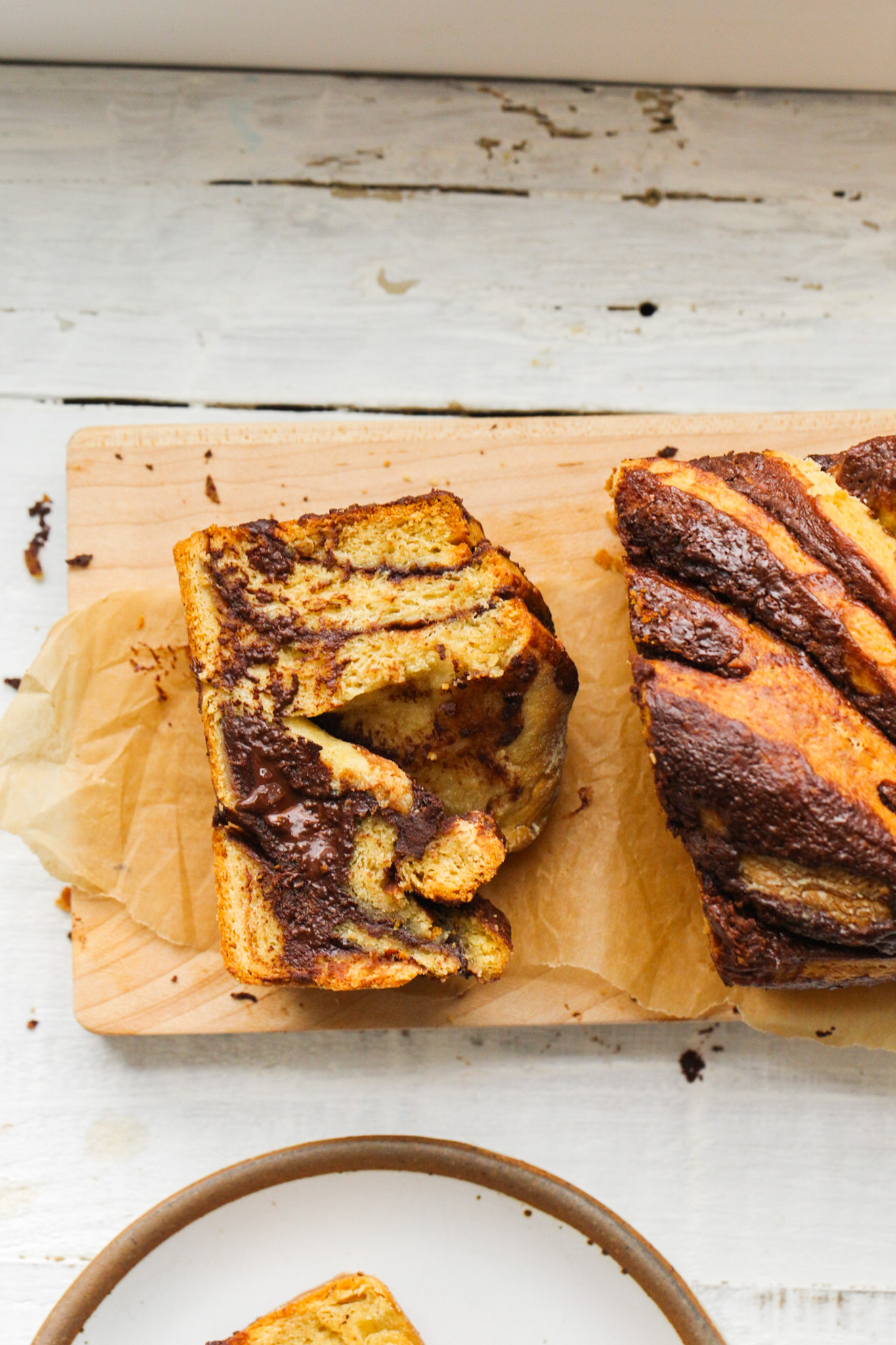 chocolate babka sliced from loaf