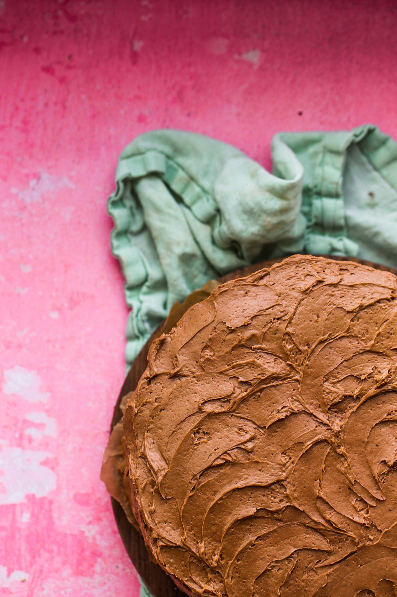 frosting on chocolate cake pink and teal
