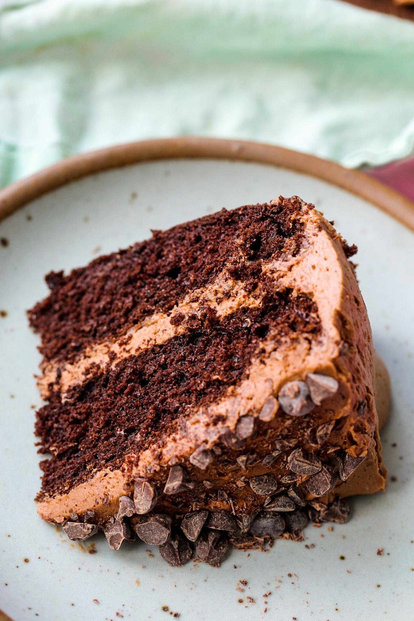 chocolate layer cake slice turquoise back