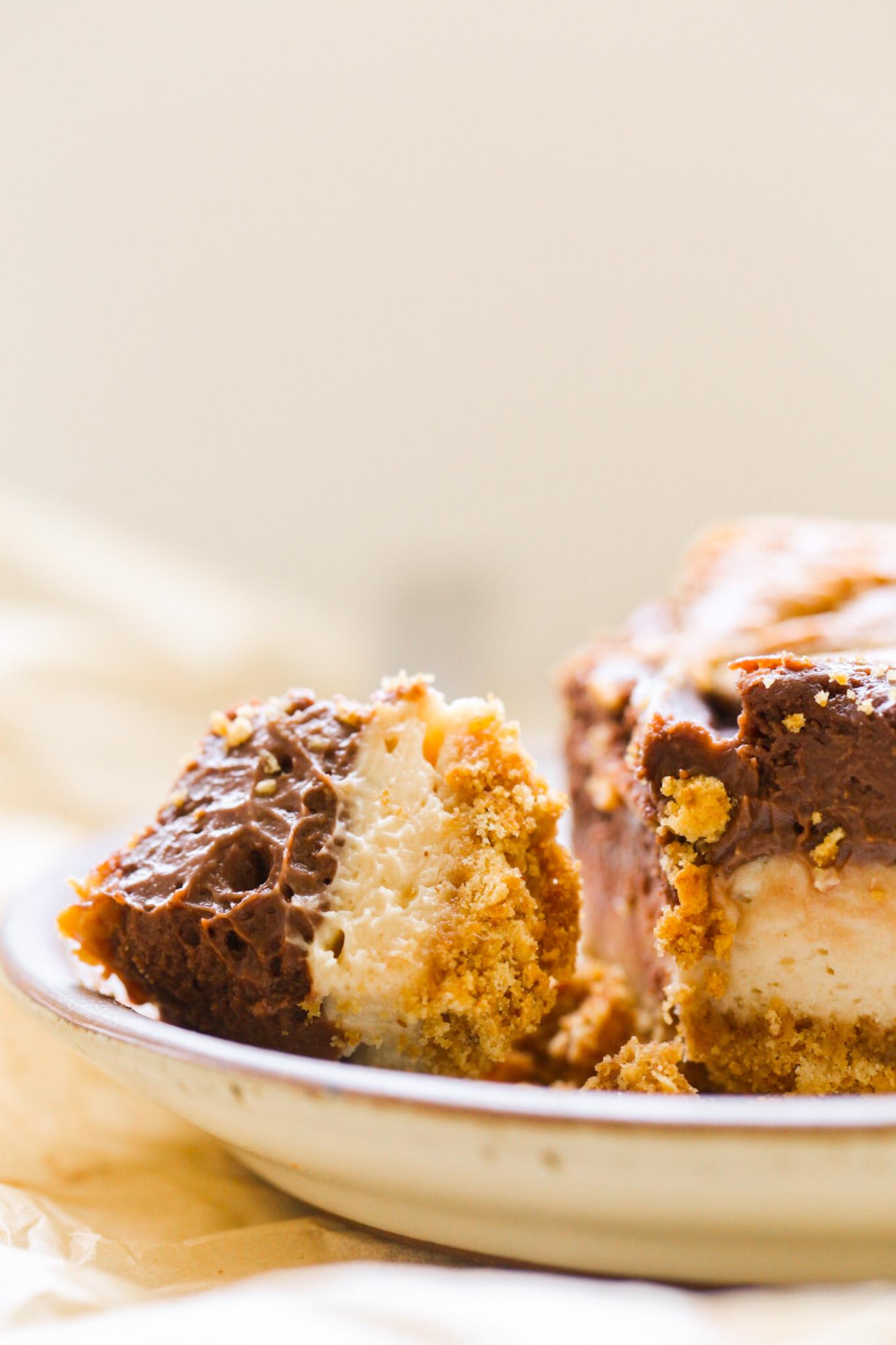 bite of cheesecake chocolate peanut butter