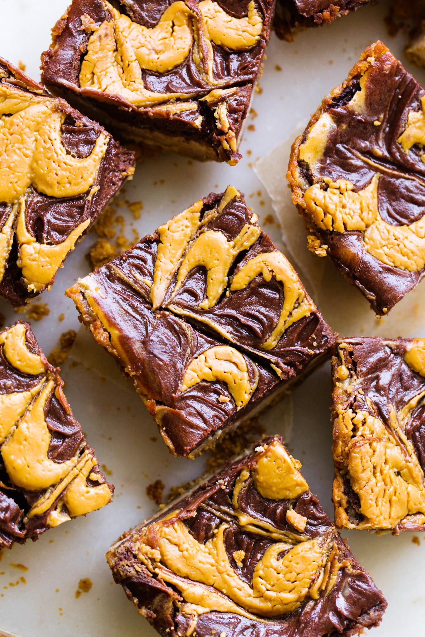 swirled peanut butter cheesecake bites