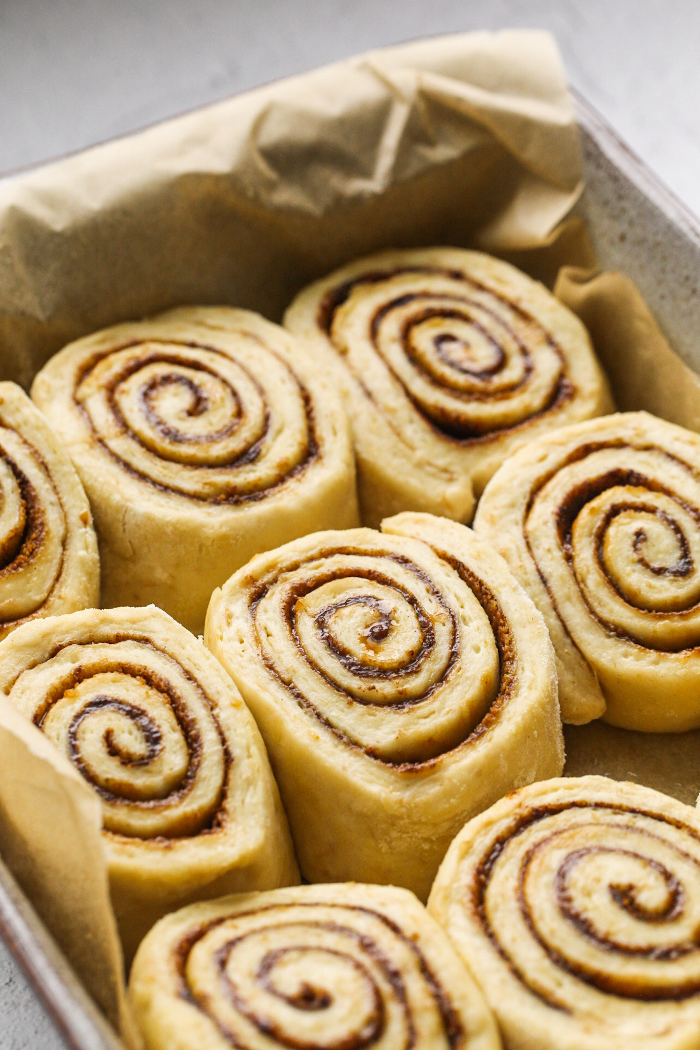 Ready to Bake Cinnamon Rolls in Baking Dish