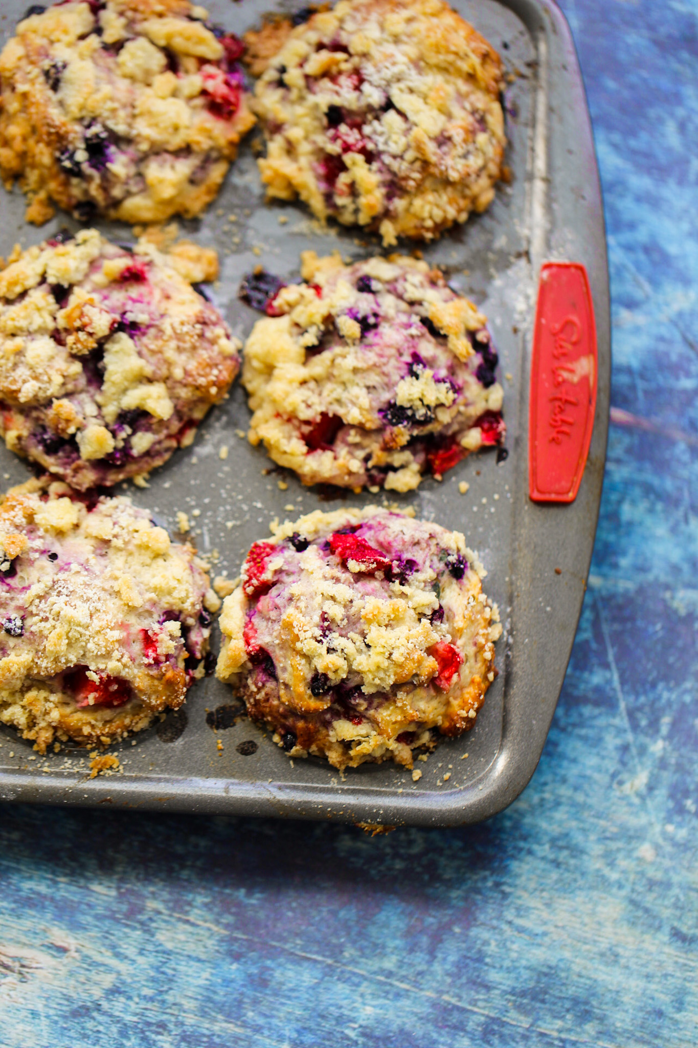 Double Berry Crumble Muffins in pan