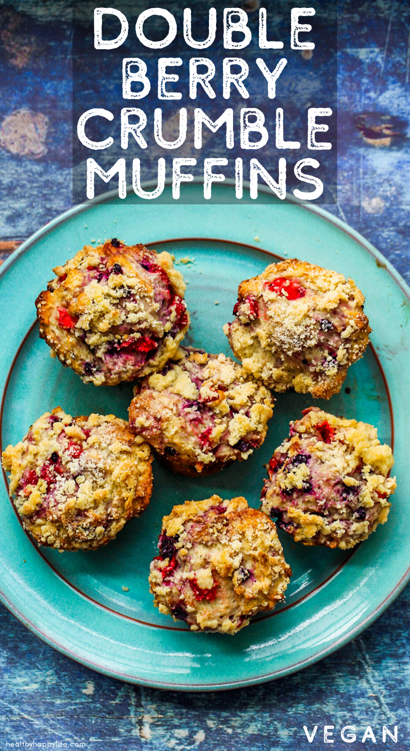 Double Berry Crumble Muffins pin
