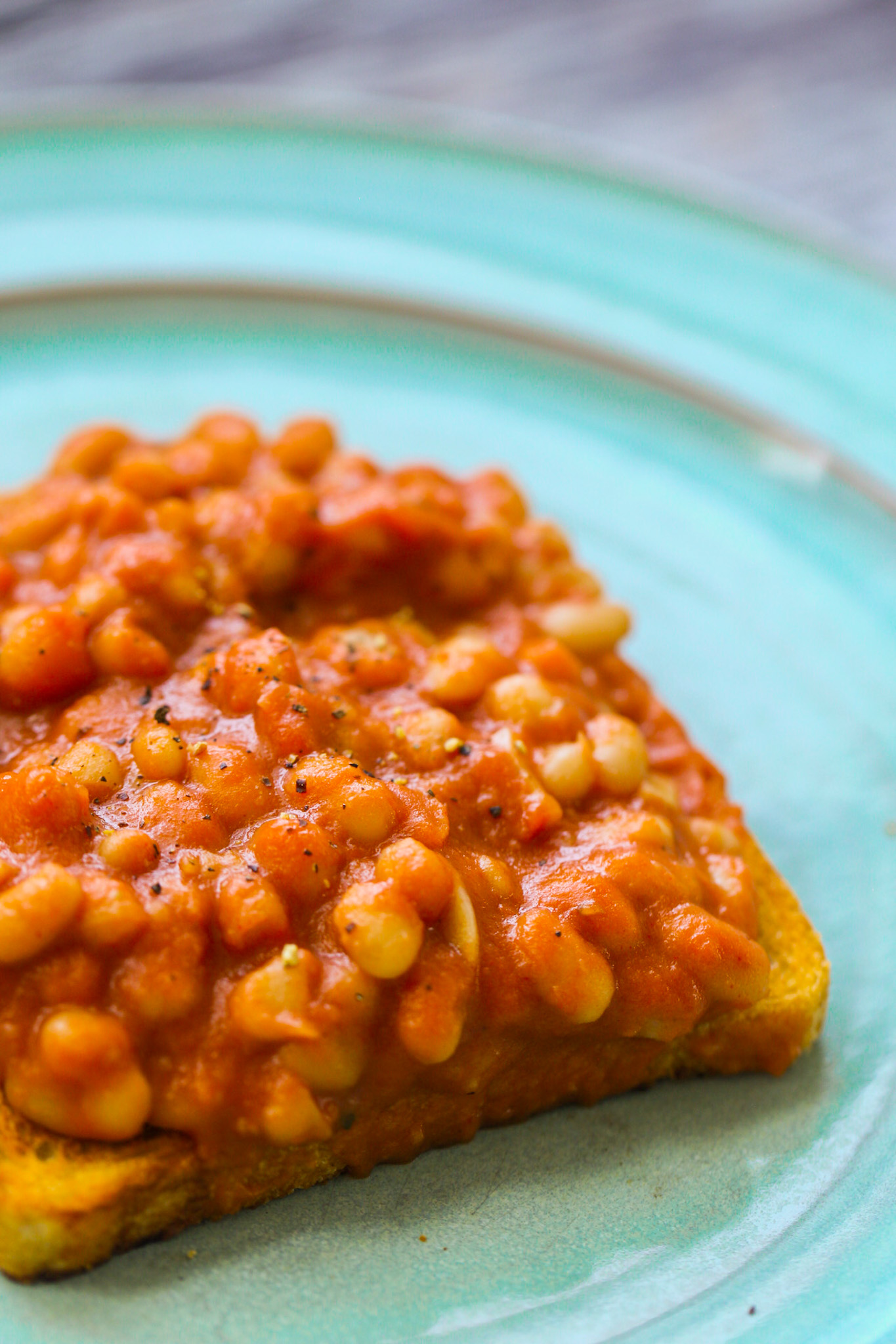 saucey baked beans on toast