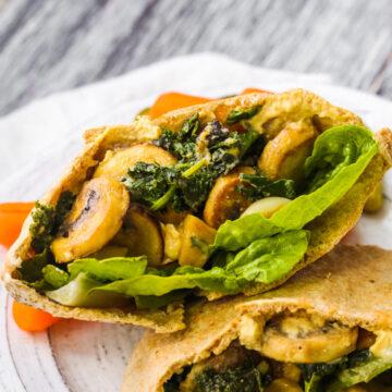 Garlicky Mushroom Kale Pitas