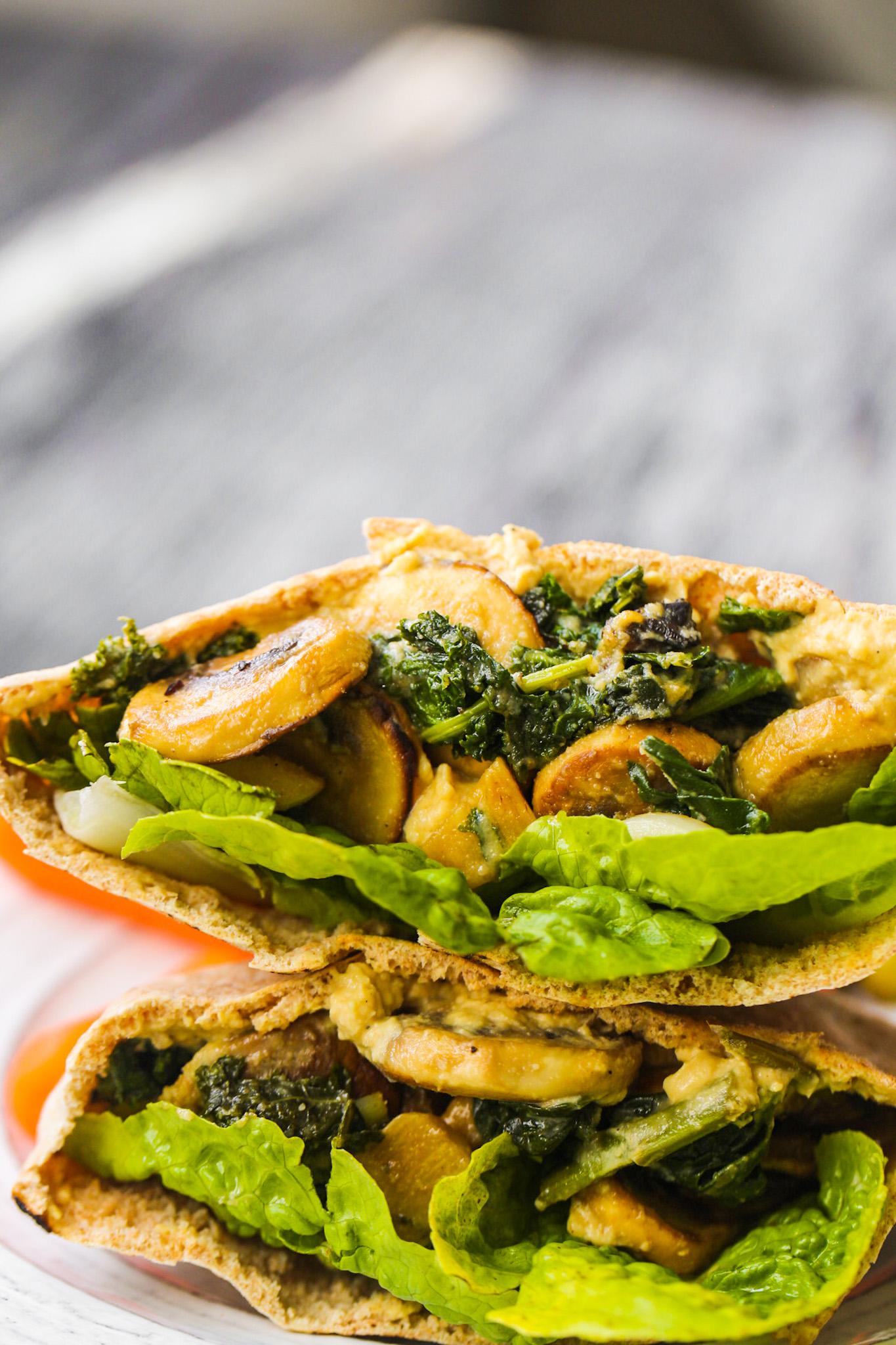 mushroom hummus kale pitas