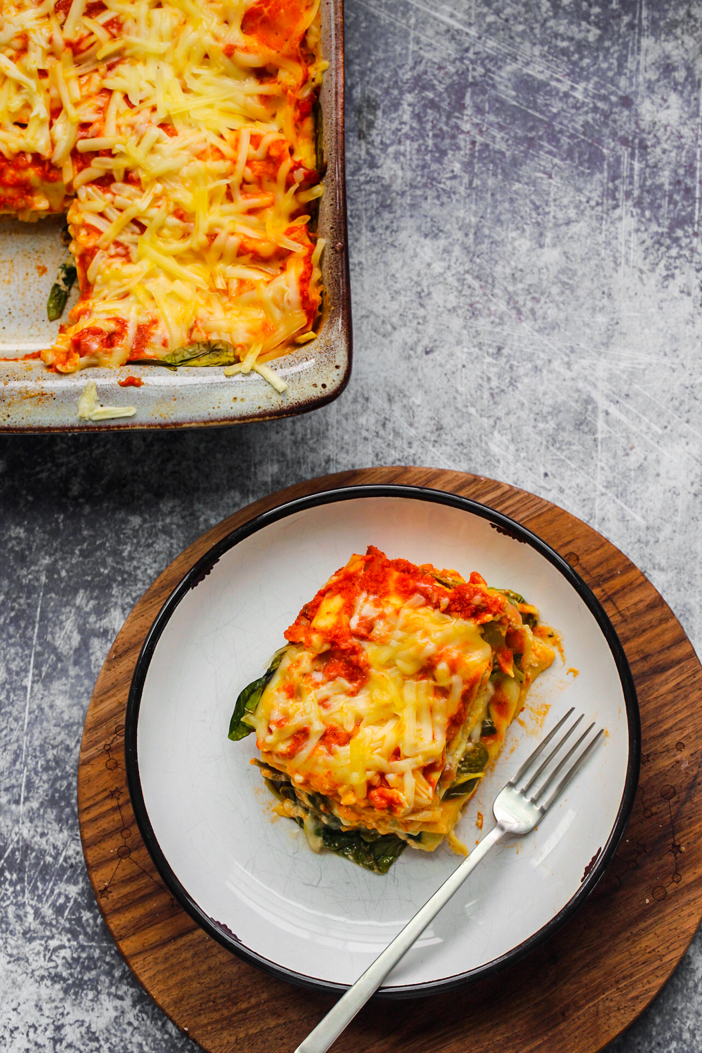 lasagna serving on plate