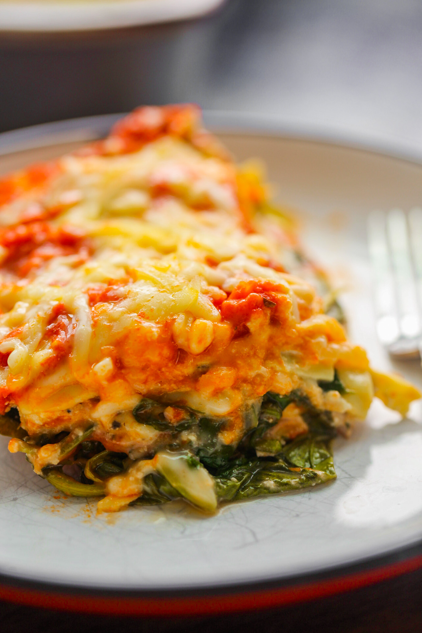 cheesy lasagna warm from oven